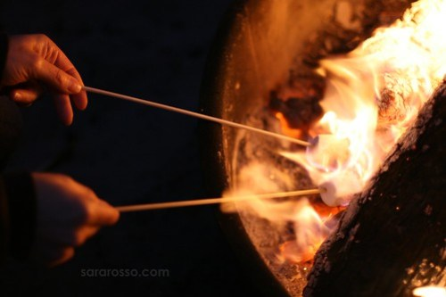 Roasting Marshmallows on the Fire, Ocean Beach in San Francisco, California