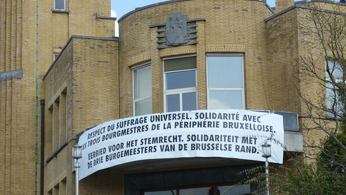 Banner outside town hall in Woluwe-St-Lambert
