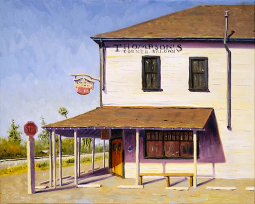 Thompsons Corner Saloon in Cordelia, oil painting