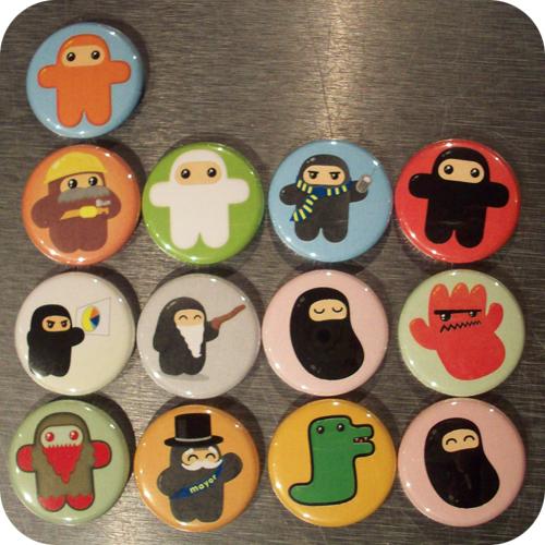 ninjatown buttons shawnimals