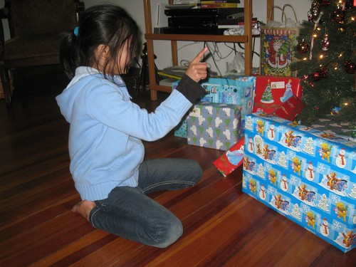 Eh Lae Soe taking inventory of all the gifts she thinks are hers