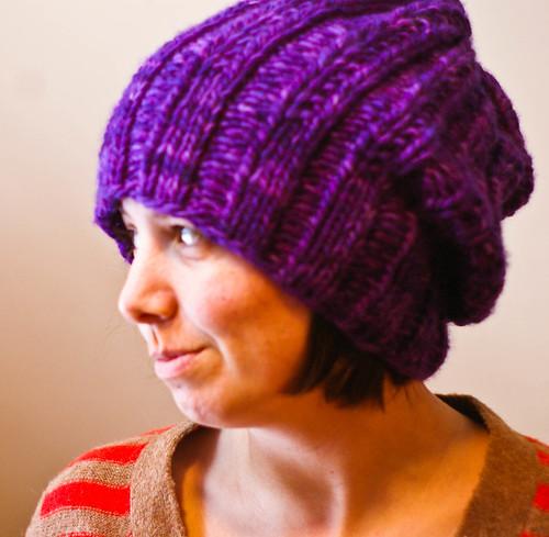 purple hat side