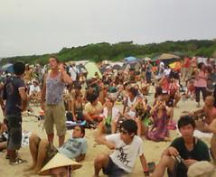 皆既日食を見にビーチへ