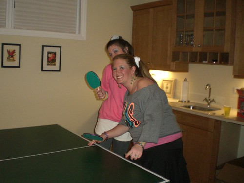 Jess and Carrie playing table-pong