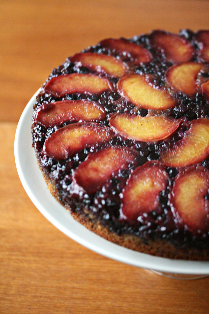 Blueberry Peach Upside Down Cake