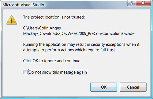 The project location is not trusted