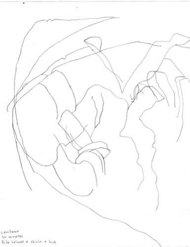 Contour drawing: bike helmet, chain, and lock