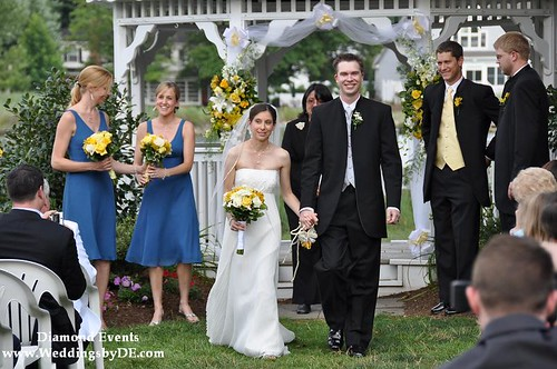 Lauren & Theron walking down the aisle