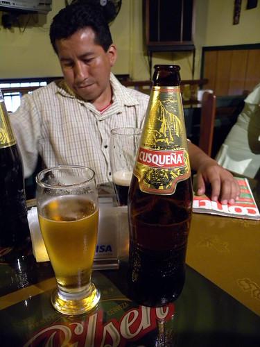 Peter and Cusquena blanca beer