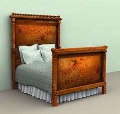 Digital Dollhouse wooden bed