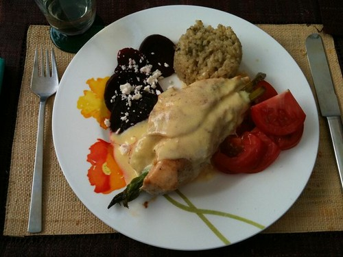 Asparagus-Stuffed Chicken with Hollandaise