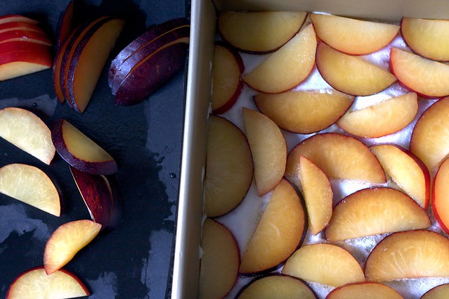 butter sugar and plum slices