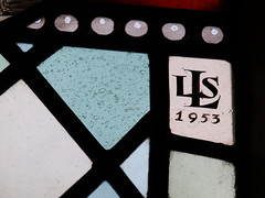 LSLs signature on the window at Holy Trinity, Bramley