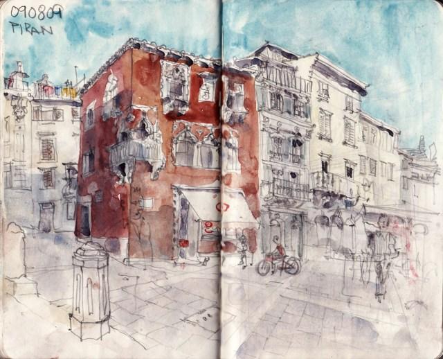 piran, tartinijev trg, venezian palazzo, slovenia