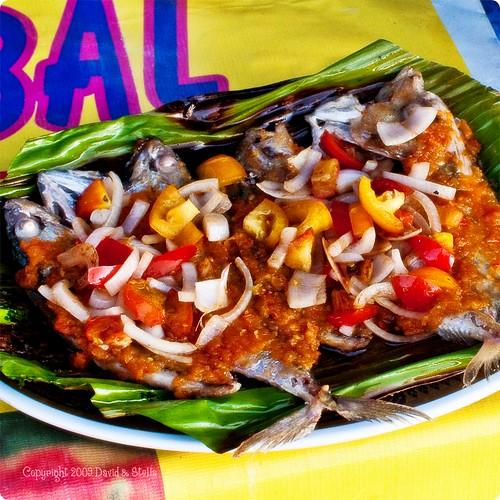 Fish pan-fried on banana leaf