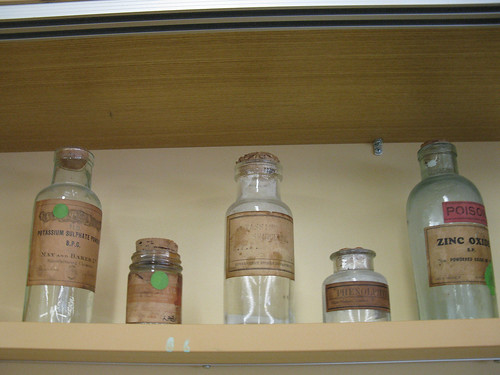 Taking a quick stop at the back of L6: bottles which have probably been there for ages.  Is zinc oxide really poisonous?