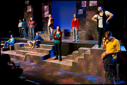 The cast of The Laramie Project, in the last five minutes of the final dress rehearsal.