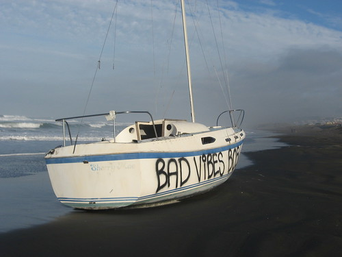 "This boat was washed up on San Franciscos Ocean Beach the morning of Jan. 8, 2009, at about Quintara Street. I dont know how long it had been there, or whether the spray-painted words ""Bad vibes Bob"" were there before it wrecked."