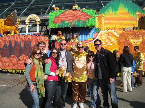 In front of a Bacchus float