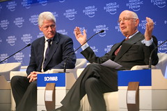 Klaus Schwab, founder of World Economic Forum, introduces Bill Clinton