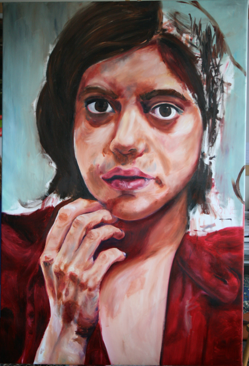 self-portrait, oil on canvas, 2009, a little larger than five foot by three foot