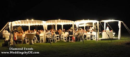Tent wedding reception at night