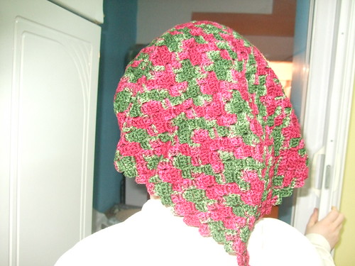 basketweave crochet in red and green