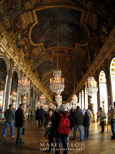 The Hall of Mirrors (73 m long, 10.5 m wide and 12.3 m high). It is the passageway between the King and Queen chambers and used for large receptions, royal weddings and ambassadorial presentations.