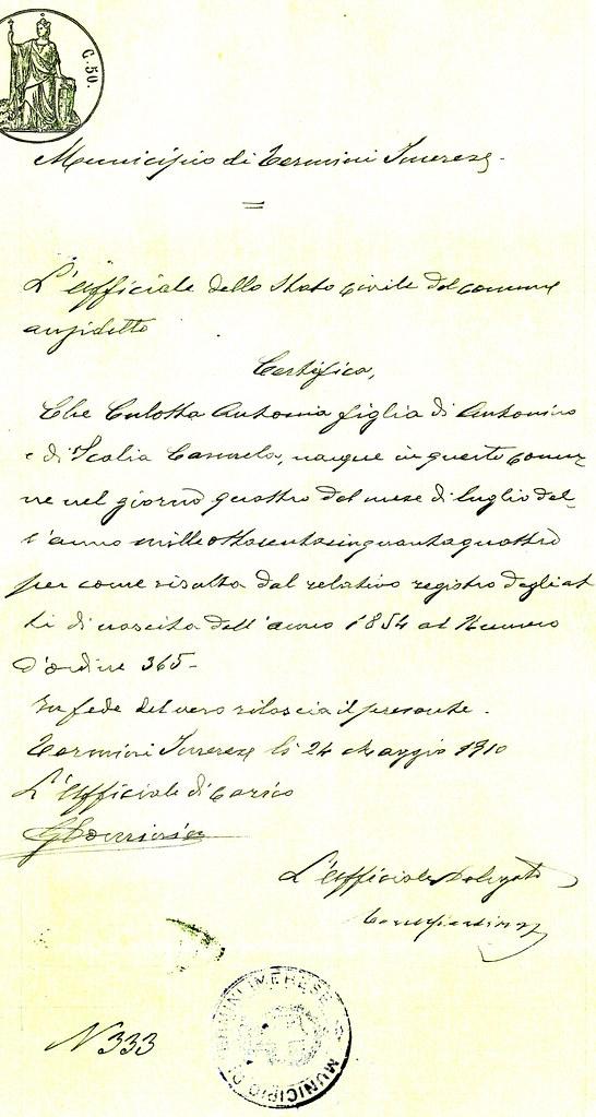 Birth Certificate-Antonia Culotta