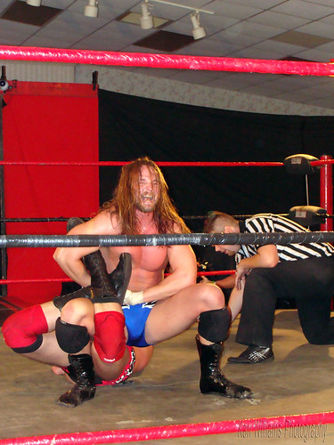 Mark Sterling does his best to inhibit NWA-CS Champion Michael Strider as he tries to win the belt. Photo by Kari Williams