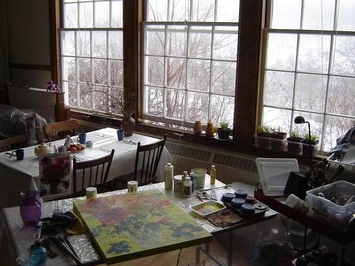 Painting in the studio.