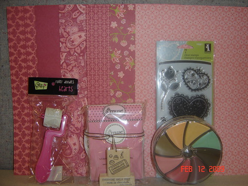 Stampin Up, Glitz Design, A Muse Artstamps, Inkadinkado, and My Minds Eye donated the items in this lovely collection.