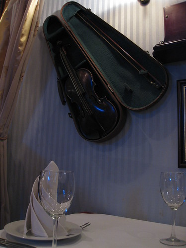 Hung violin at the hotel's restaurant