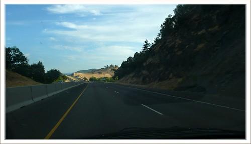 Through-the-windshield shot, I-5, Southern Oregon.
