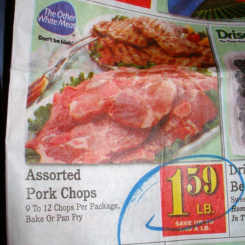 Save Mart assorted pork chops for $1.59/lb