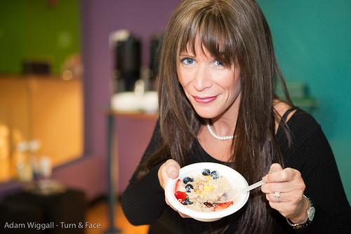 Missy Ward eating Quaker Oatmeal