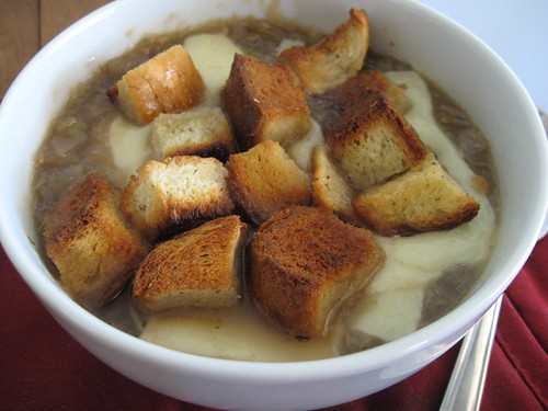 homemade croutons in french onion soup