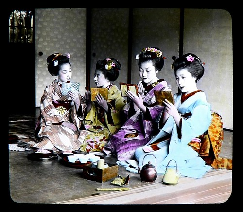 """DANCING GIRL"" MAIKO TOUCHING UP THEIR PRETTY RED LIPS"