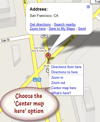 3. Choose the center map here option