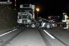 VU Pkw gegen Lkw B42 Rüdesheim 13.10.09