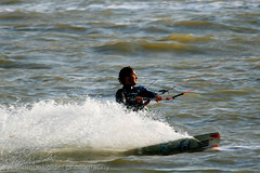 Kitesurfing at Hillhead, Hampshire