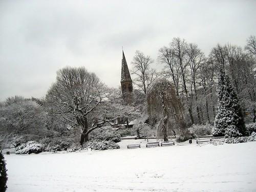 Schnee im Botanischen Garten