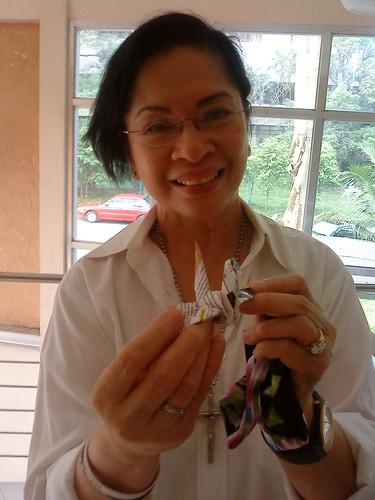 Paper Crane #21 Ambassador Henrietta de Villa, former Vatican ambassador, now chairs the Parish Pastoral Council for Responsible Voting (PPCRV)