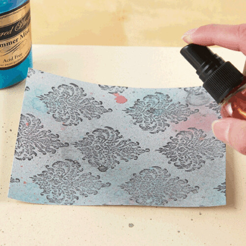 Spray cardstock with Sea Glass and Cherub Pink shimmer spray.