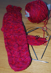 1 & a teensy bit red dragon socks