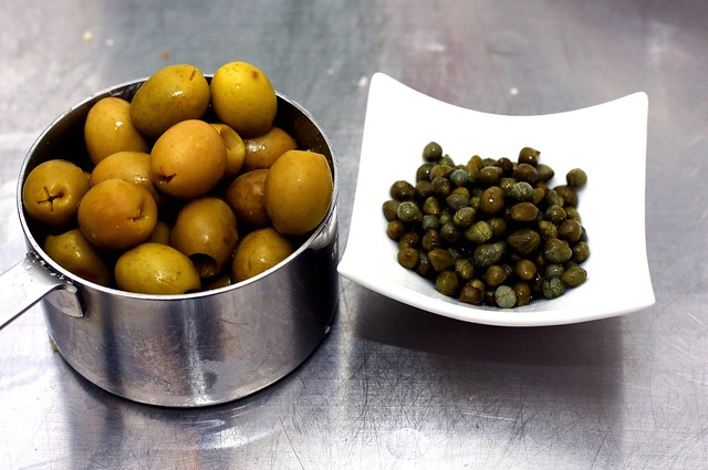 olives, capers