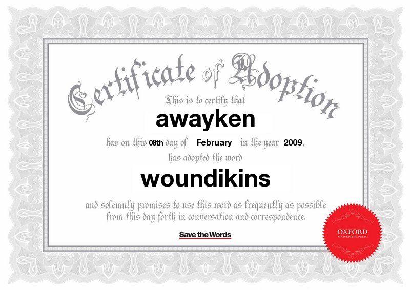 awayken has adopted the word 'woundikins'
