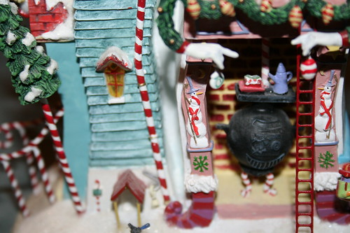 My favorite Christmas decoration-close-up of fireplace