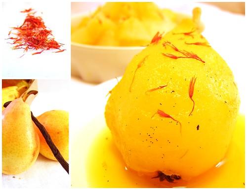 pear, saffron, charlotte, lady finger, yoghurt