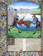 Full page with miniature depicting Marcus Manlius being thrown into the Tiber